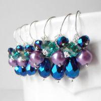 Peacock Bridesmaid Jewelry Beaded Cluster Earrings Pearl ...