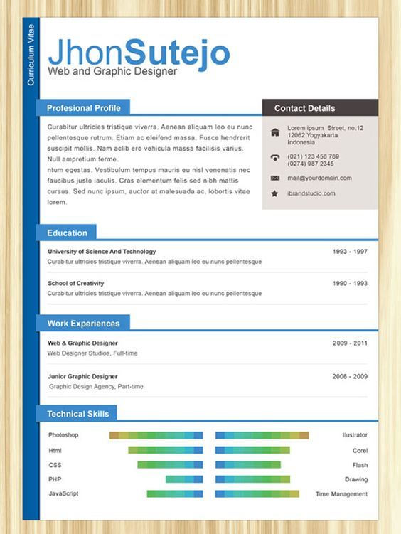 11 PSD One Page Resume Templates Online Resume Creative