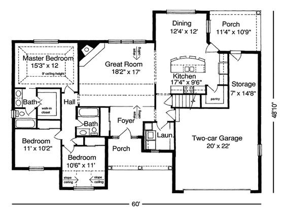 ranch floor plans without dining room  Floor Plans for