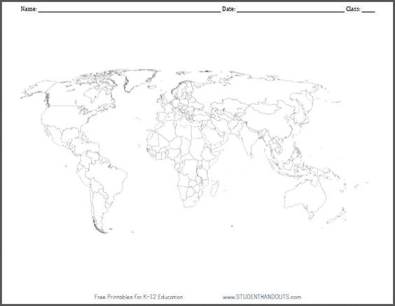 World maps, Worksheets and Maps on Pinterest