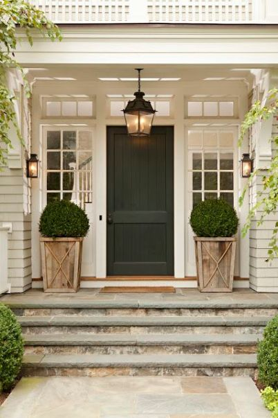 black front door decor lighting
