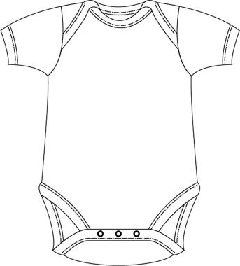 Baby Onesie Outline Sketch Coloring Page