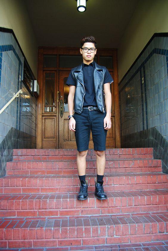 30代40代黒ポロシャツ海外メンズコーデ