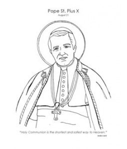 Pope Saint Pius X Catholic Coloring Page. Feast day is