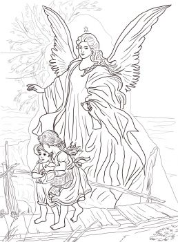 Guardian angel and children Catholic Coloring Page