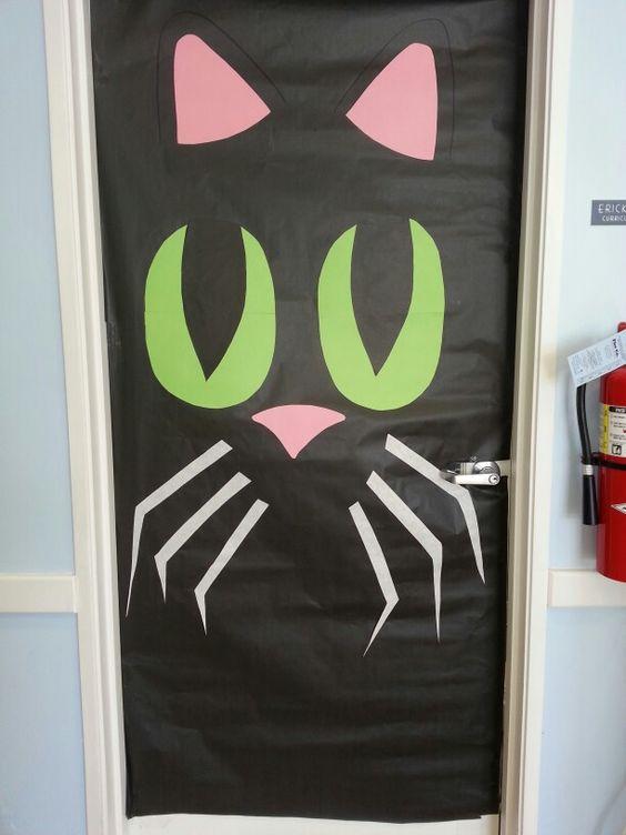 Halloween Black cat Classroom door Fall decoration By