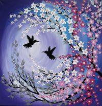 cherry blossom painting, cherry blossom art, purple ...