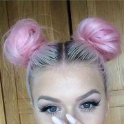 pastel bun hair and pink