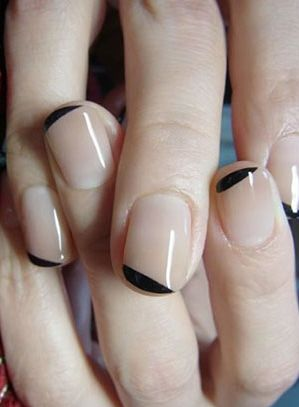 DIY Nail Art French Manicure Nude Nail Polish Black Tips Makeup and Beauty Ideas
