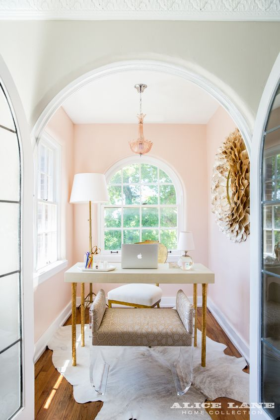 Alice Lane Home Collection | Historic Ivy Flat | Pink office: