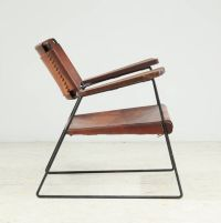 lounge arm chair, iron rod frame, leather, mid century ...