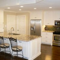White cabinets, dark wood floors, tan granite   FOR THE ...