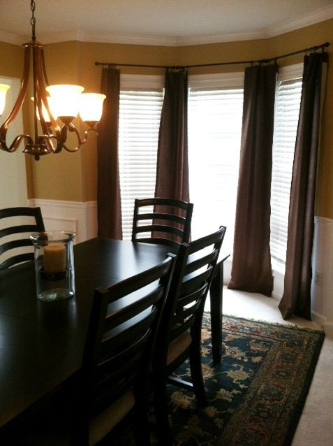 Bay Window Curtains In The Dining Room My Home Decor