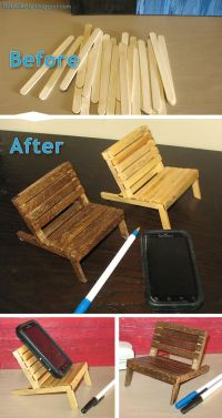 Mini pallet chair cell phone holder made from popsicle ...