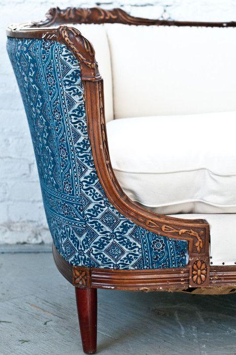 Vintage 1920s sofa we reupholstered in an indian batik