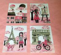 Paris art , Paris decor, baby nursery art decor, pink mint ...