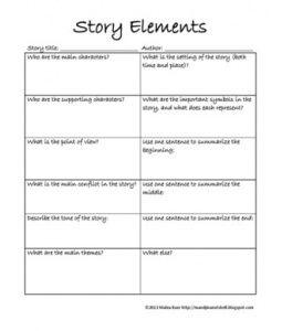 Literature Short Story Elements Worksheet