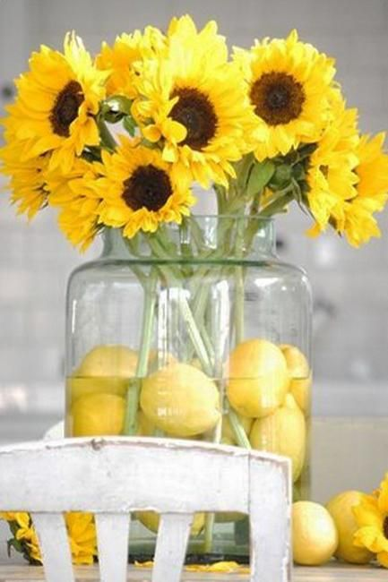 creative flower arrangements and floral designs with sunflowers, yellow flower table decorations and centerpieces: