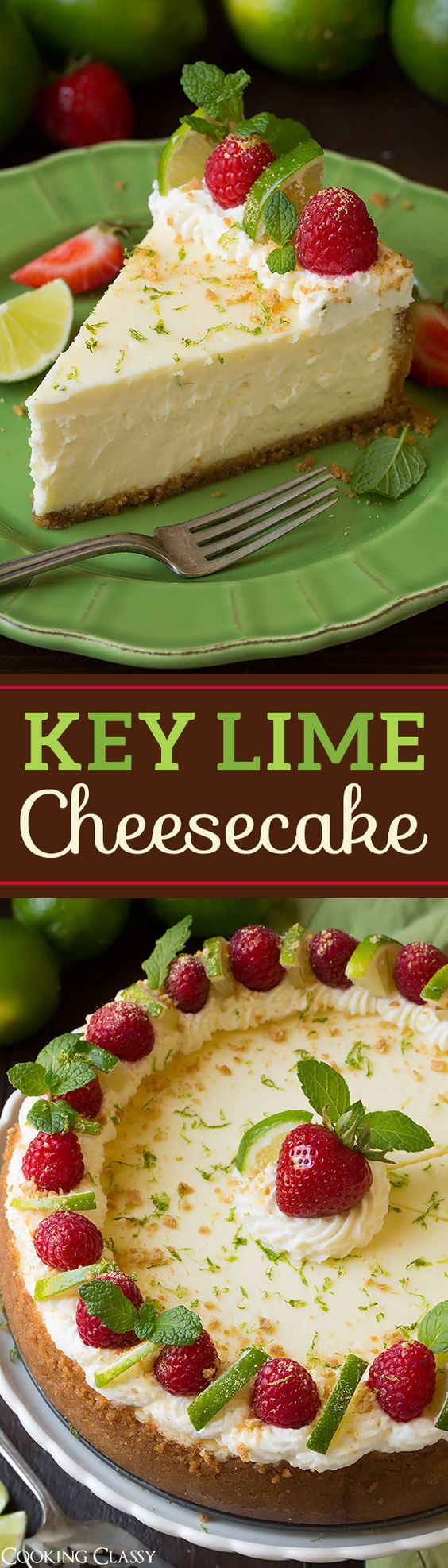 Key Lime Cheesecake Recipe via Cooking Classy - the perfect summer cheesecake! This is TO DIE FOR!!