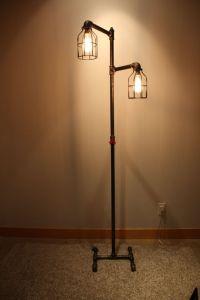 Black iron pipe floor lamp