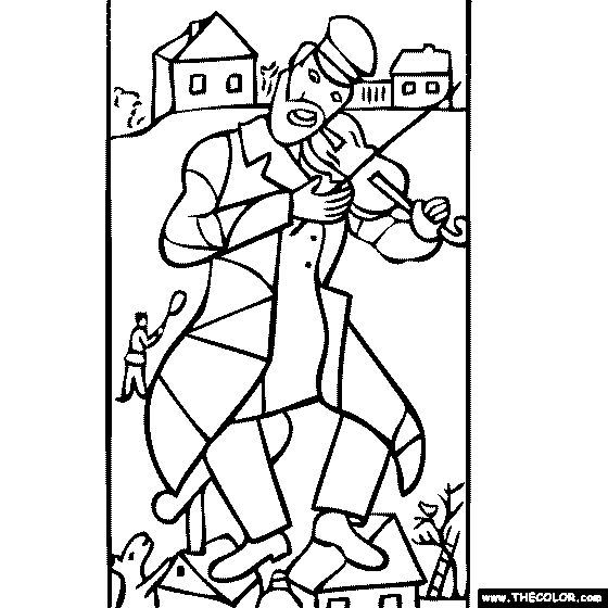 Marc chagall coloring pages Marc Chagall Green Violinist