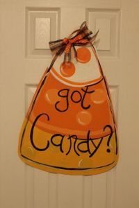 Candy Corn Door Hanger Wooden Wreath Wood Cutout Halloween ...