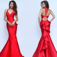 V-Neck Mermaid Sherri Hill Prom Dress with Cut Out Back ...