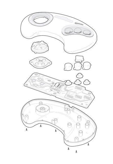 Sega Genesis Video Game Controller Technical Illustration