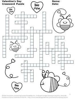 Valentines Day Crossword Puzzle No Prep Vocabulary