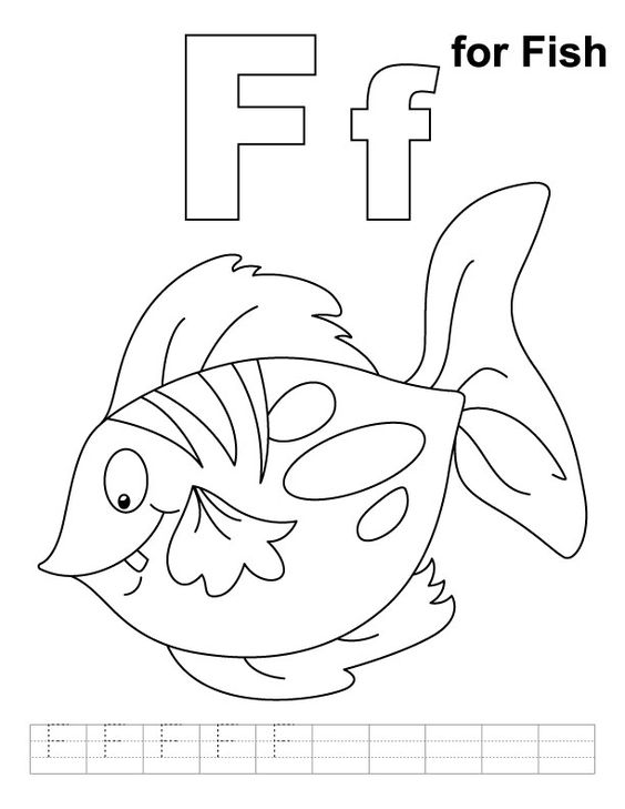 F for fish coloring page with handwriting practice