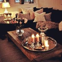 Candles & Fresh Flowers on Metal tray/Wood Coffee Table