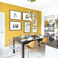 Smart modern kitchen-diner with mustard yellow feature ...