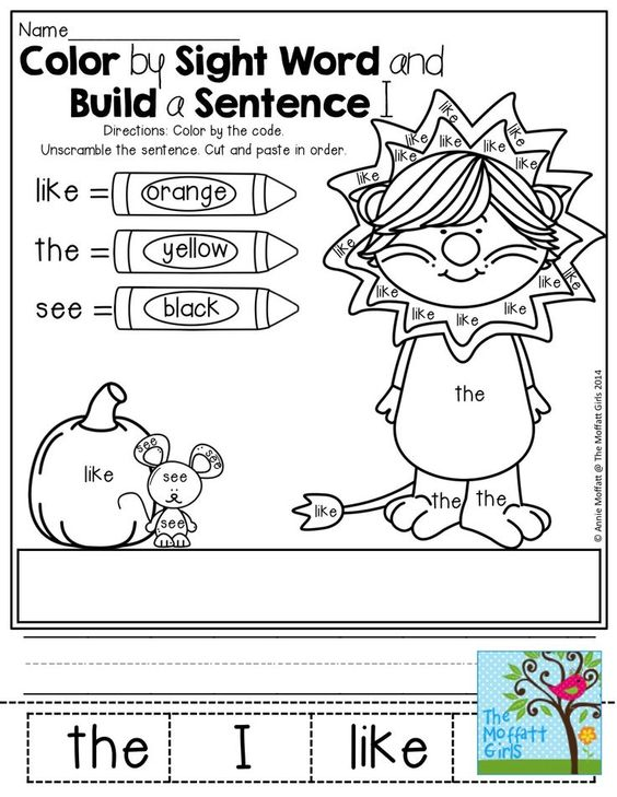 Word sentences, The sentence and Sight words on Pinterest