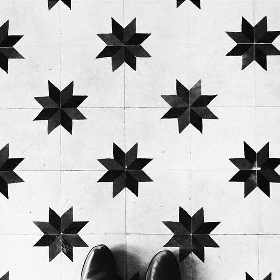 Encaustic or Cement Tile with a star pattern, black and white, via @himanshuccivil and @ihavethisthingwithfloors: