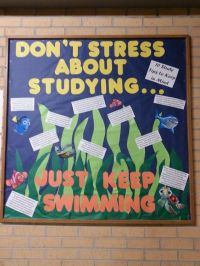 Floor lobby bulletin board, with a Finding Nemo theme