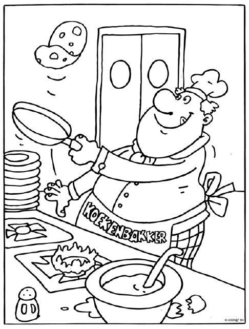 Pannenkoeken bakker #kleurplaat #pannenkoek #bakker