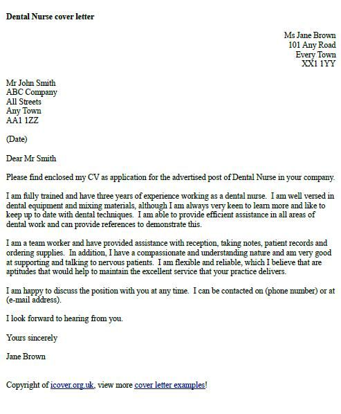 Dental Nurse Cover Letter Example  cover letter examples  Pinterest  Cover letter example