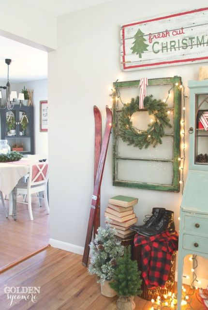 Vintage, cozy, lodge Christmas decor Vintage, rustic, cozy Christmas decor #JMholidaystyle #holidayhousewalk2015: