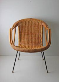 mid century modern Arthur Umanoff style wicker basket ...