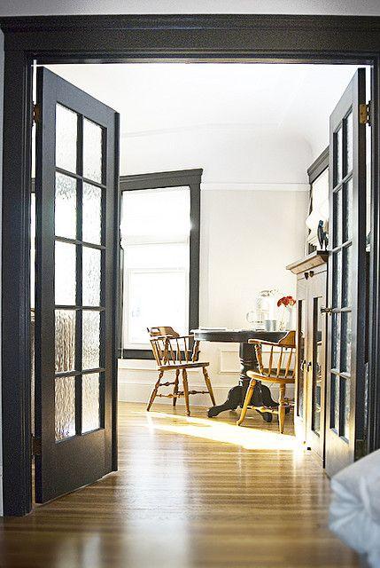 white walls black trim classy  Lovely Interiors