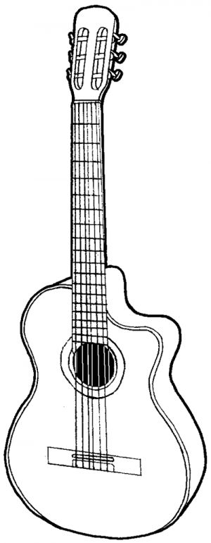 How to draw a guitar with easy step by step drawing