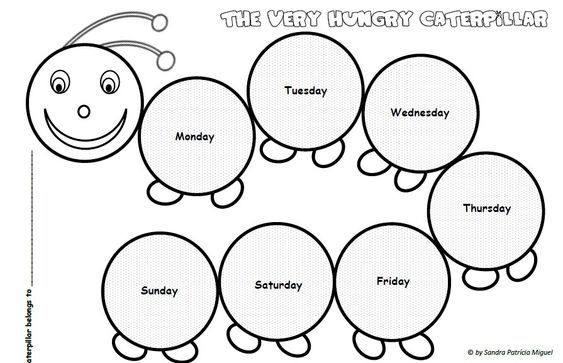 the very hungry caterpillar days of the week (sequencing