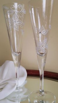 Set of 2 hand painted champagne flutes by ...