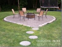 Fire pit area, complete with paver stones leading the way ...