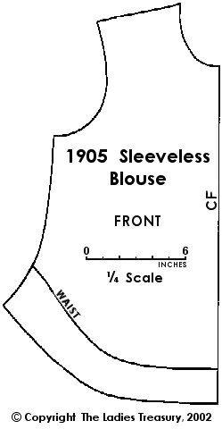 Free Ladies' Sleeveless Blouse Pattern circa 1905