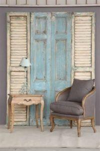 Old door idea..great use of vintage door and shutters ...