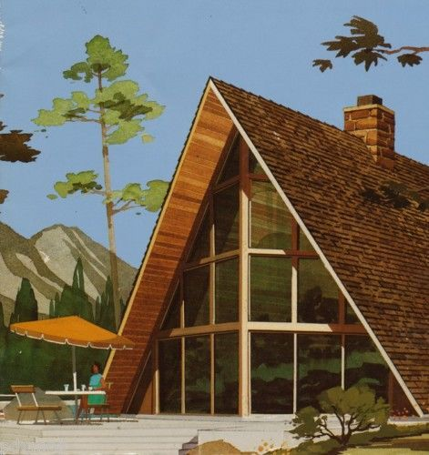 Modern Vacation Homes Atomic A Frames Chalets Eames Era Floor Plans Mid Century | eBay: