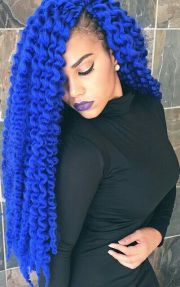 bright royal cobalt blue dyed curly