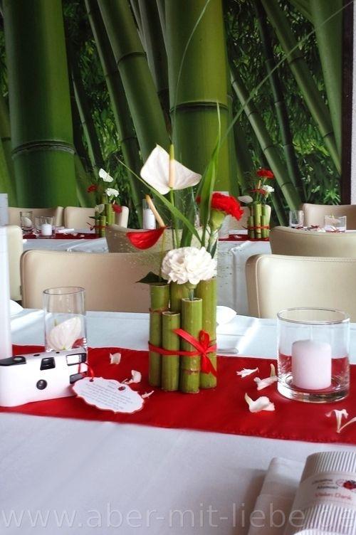 Tischdeko in rotwei Hochzeitsdeko Renautria gebndelt