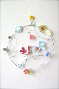 Love birds round wall art Garden hoop wire by ...